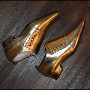 New Jeffrey Campbell Gold Loafers